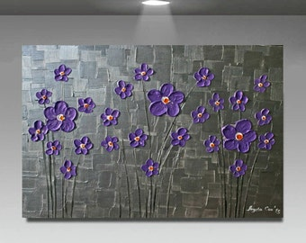 Original  Modern  Purple  Metallic   Silver Flowers Abstract Impasto Palette Knife   Painting .  Ready to ship.40 x 30.