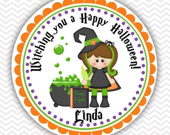 Halloween Witching You- Personalized Stickers, Party Favor Tags, Thank You Tags, Gift Tags