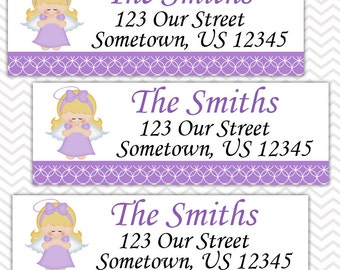 Kneeling Angel Girl Purple Baptism Christening First Holy Communion  - Personalized Address labels, Stickers