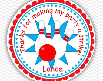 Bowling Blue - Personalized Stickers, Party Favor Tags, Thank You Tags, Gift Tags, Address labels, Birthday, Baby Shower