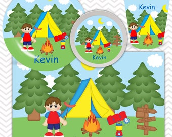 Camping Boy Plate, Bowl, Cup, Placemat - Personalized Camping Dinnerware for Kids - Custom Tableware