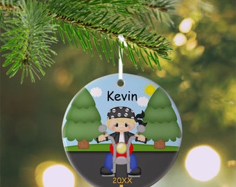 Motorcycle Boy Ornament - Personalized Motorcycle Ornament, Motorcycle Ornament, Kids Ornament, Christmas Tree Ornament