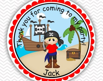 Pirate Boy - Personalized Stickers, Party Favor Tags, Thank You Tags, Gift Tags, Address labels, Birthday, Baby Shower