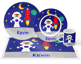 Astronaut Boy Plate Set - Personalized Kids Plate, Bowl, Mug & Placemat - Space Plate Set - Kids Plastic Tableware - Microwave Safe