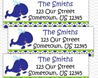 Preppy Blue Whale - Personalized Address labels, Stickers, Baby Shower