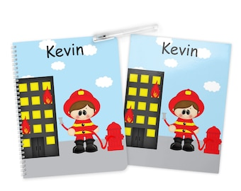 Fireman Folder Notebook Set - Personalized School Folder - Personalized Notebook - Folder with Name - Back to School