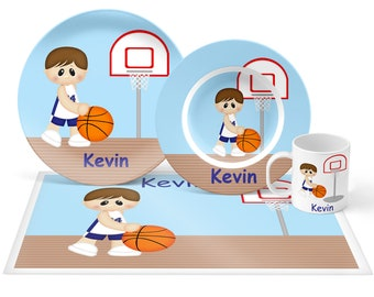 Basketball Boy Plate Set - Personalized Kids Plate, Bowl, Mug & Placemat - Basketball Plate Set - Kids Plastic Tableware - Microwave Safe