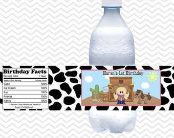 Cowgirl  - Personalized water bottle labels - Set of 5  Waterproof labels