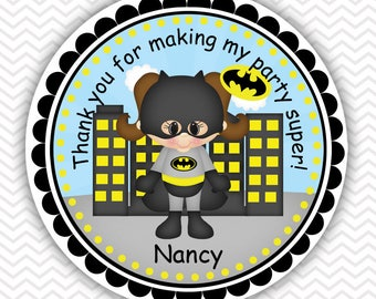 Batgirl Super heros - Personalized Stickers, Party Favor Tags, Thank You Tags, Gift Tags, Address labels, Birthday, Baby Shower