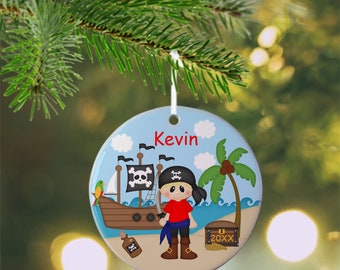 Pirate Boy Ornament - Personalized Pirate Ornament, Pirate Ornament, Kids Ornament, Christmas Tree Ornament