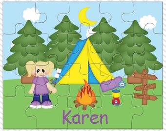 Camping Girl Personalized Puzzle, Personalized Camping Puzzle, Personalized Kids Puzzle