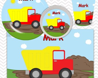 Dump Truck   Plate, Bowl, Cup, Placemat - Personalized Construction Dinnerware for Kids - Custom Tableware