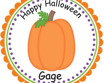 Halloween Pumpkin- Personalized Stickers, Party Favor Tags, Thank You Tags, Gift Tags
