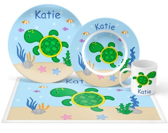 Turtle Plate Set - Personalized Kids Plate, Bowl, Mug & Placemat - Turtle Plate Set - Kids Plastic Tableware - Microwave Safe