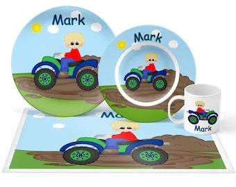 ATV 4-Wheeler Boy Plate Set - Personalized Kids Plate, Bowl, Mug & Placemat - ATV Plate Set - Kids Plastic Tableware - Microwave Safe