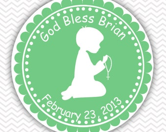 Kneeling Boy Green Baptism Christening First Holy Communion - Personalized Stickers, Party Favor Tags, Thank You Tags, Gift Tags