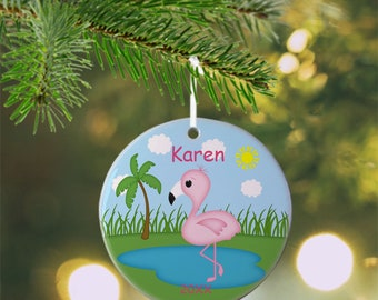 Flamingo Ornament - Personalized Flamingo Ornament, Flamingo Ornament, Kids Ornament, Christmas Tree Ornament