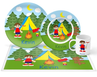 Camping Boy Plate Set - Personalized Kids Plate, Bowl, Mug & Placemat - Campin Plate Set - Kids Plastic Tableware - Microwave Safe