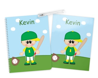 Baseball Boy Folder Notebook Set - Personalized School Folder - Personalized Notebook - Folder with Name - Back to School