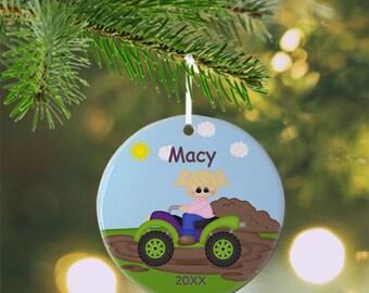 ATV 4-Wheeler Girl Ornament - Personalized ATV Ornament, 4-Wheeler Ornament, Kids Ornament, Christmas Tree Ornament