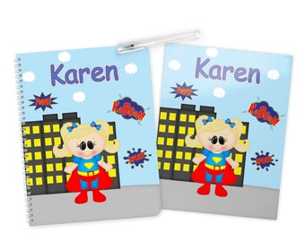 SuperGirl Super Hero Folder Notebook Set - Personalized School Folder - Personalized Notebook - Folder with Name - Back to School