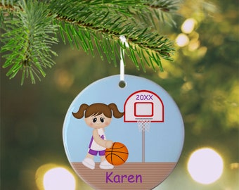 Basketball Girl Ornament - Personalized Basketball Ornament, Sports Ornament, Kids Ornament, Christmas Tree Ornament