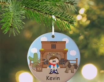 Cowboy Ornament - Personalized Cowboy Ornament, Western Ornament, Kids Ornament, Christmas Tree Ornament