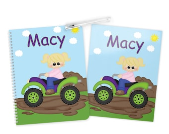 ATV Girl - 4 Wheeler Folder Notebook Set - Personalized School Folder - Personalized Notebook - Folder with Name - Back to School
