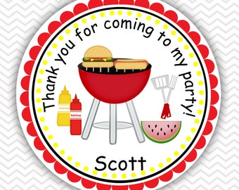 Backyard Picnic - Personalized Stickers, Party Favor Tags, Thank You Tags, Gift Tags, Address labels, Birthday, Baby Shower