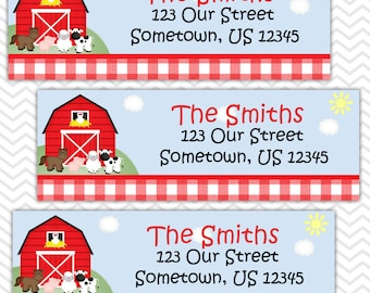 Barn Yard Farm Animals Red Gingham - Personalized Address labels, Stickers