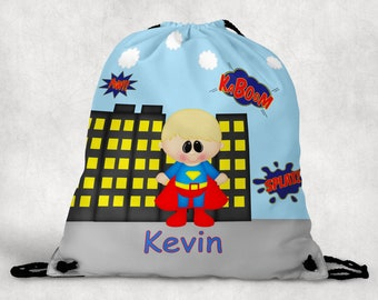 Superman Personalized Drawstring Backpack - Superman Backpack - Hockey Sports Bag - Personalized Kids Drawstring Bag