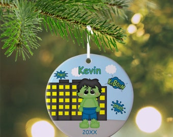 Hulk Ornament - Personalized Hulk Ornament, Super Hero Ornament, Kids Ornament, Christmas Tree Ornament