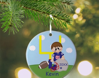 Football Player Ornament - Personalized Football Ornament, Sports Ornament, Kids Ornament, Christmas Tree Ornament
