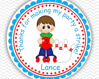 Bowling Boy- Personalized Stickers, Party Favor Tags, Thank You Tags, Gift Tags, Address labels, Birthday, Baby Shower