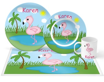 Flamingo Plate Set - Personalized Kids Plate, Bowl, Mug & Placemat - Flamingo Plate Set - Kids Plastic Tableware - Microwave Safe