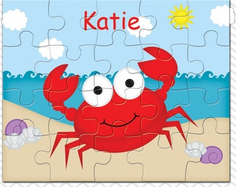 Crab Personalized Puzzle, Personalized Crab Puzzle, Personalized Kids Puzzle