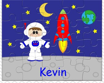 Space Astronaut Boy Personalized Puzzle, Personalized Astronaut Puzzle, Personalized Kids Puzzle