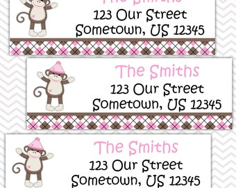Sock Monkey Pink  - Personalized Address labels, Stickers, Baby Shower, Birthday