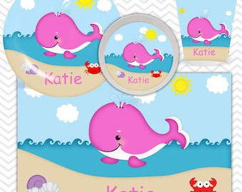 Whale Pink Plate, Bowl, Cup, Placemat - Personalized Whale Dinnerware for Kids - Custom Tableware