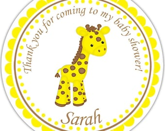 Baby Giraffe Yellow - Personalized Stickers, Party Favor Tags, Thank You Tags, Gift Tags, Address labels, Baby Shower