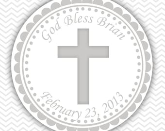 Cross Grey Baptism Christening First Holy Communion - Personalized Stickers, Party Favor Tags, Thank You Tags, Gift Tags