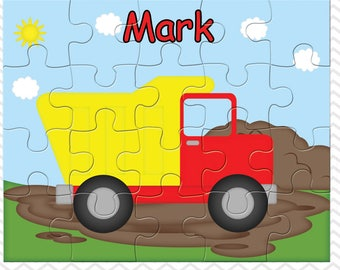 Dump Truck Personalized Puzzle, Personalized Construction Puzzle, Personalized Kids Puzzle