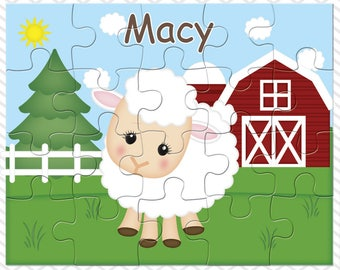 Sheep Personalized Puzzle, Personalized Farm Puzzle, Personalized Kids Puzzle