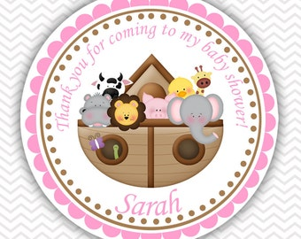 Noah's Ark Pink - Personalized Stickers, Party Favor Tags, Thank You Tags, Gift Tags, Address labels, Birthday, Baby Shower