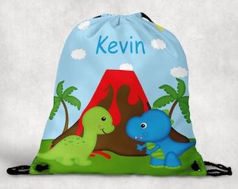 Dinosaur Personalized Drawstring Backpack - Dinosaur Backpack - Dinosaur Sports Bag - Personalized Kids Drawstring Bag