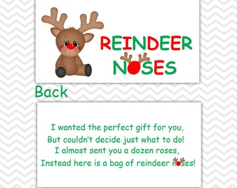 Christmas Reindeer Noses - Personalized DIY Christmas Printable Bag Topper, Treat Topper, Food Tent