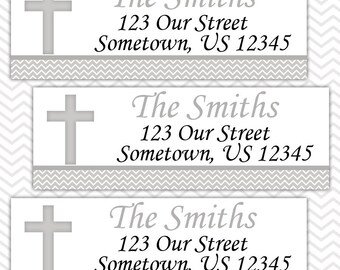 Cross Grey Baptism Christening First Holy Communion  - Personalized Address labels, Stickers