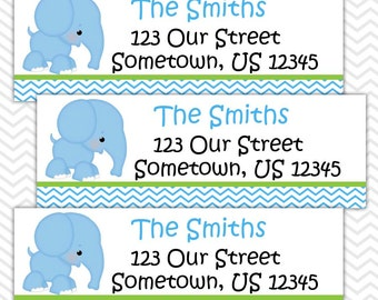 Elephant Blue - Personalized Address labels, Stickers, Baby Shower