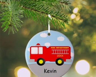 Fire Truck Ornament - Personalized Fire Truck Ornament, Fire Truck Ornament, Kids Ornament, Christmas Tree Ornament