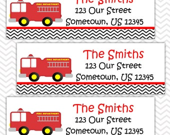 Fire Trucks - Personalized Address labels, Stickers